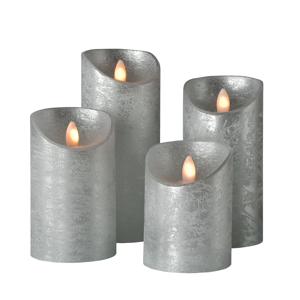Sompex Válcová svíčka Shine LED, 4ks, Ø 7,5 cm, stříbrná