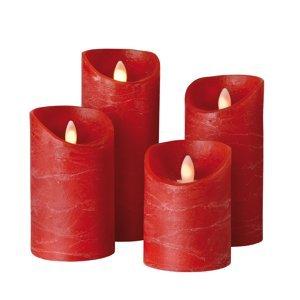 Sompex Válcová svíčka Shine LED, 4ks, Ø 7,5 cm, červená