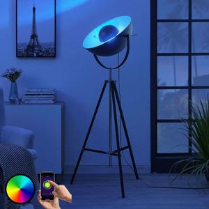 Lindby Lindby Smart LED stojací lampa Muriel, stříbrná