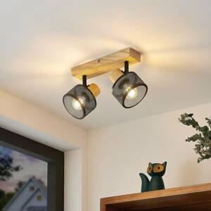 Lindby Lindby Evinora stropní reflektor, dřevo, 2zdrojový