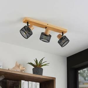 Lindby Lindby Evinora stropní reflektor, dřevo, 3zdrojový