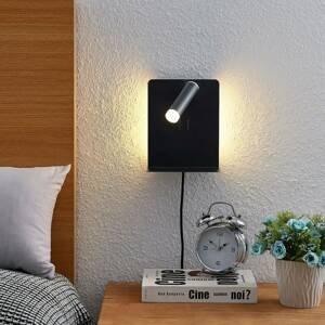 Lucande Lucande Zavi LED nástěnný spot polička, USB, černá