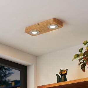 Lindby Lindby Mikari LED stropní světlo ze dřeva 2 zdroje