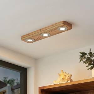 Lindby Lindby Mikari LED stropní světlo ze dřeva 3 zdroje