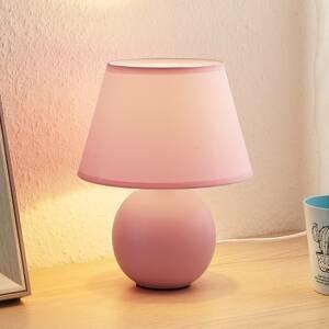 Lindby Lindby Calliota látková stolní lampa kulatá růžová