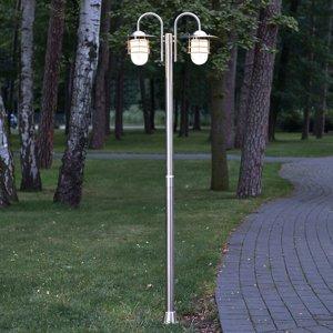 Lindby Stožárové světlo Mian vyrobené z nerezu, 2 zdroje