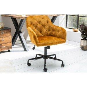 LuxD Designová kancelářská židle Kiara hořčičný samet - II. třída
