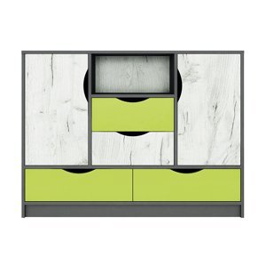 Komoda 2D4S DISNEY dub kraft bílý/šedý grafit/limeta