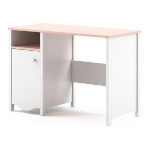 Pracovní stůl v kombinaci barev bílé a růžové typ MI03 KN365