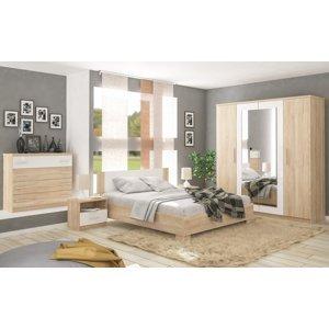 Sestava do ložnice MARKOS dub sonoma/bílá (postel 160, 2x NS, komoda 4S, skříň 4D)