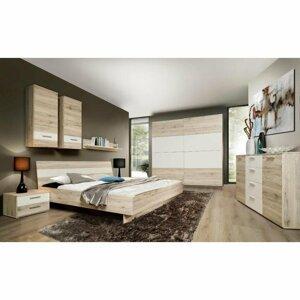 Ložnice (skříň, postel, 2 ks noční stolky) dub pískový bílá, VALERIA