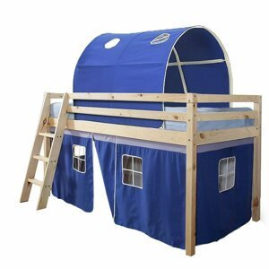 Dětská patrová postel v přírodním provedení v kombinaci s modrou TK4020