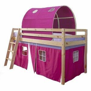 Dětská patrová postel v přírodním provedení v kombinaci s růžovou TK4020