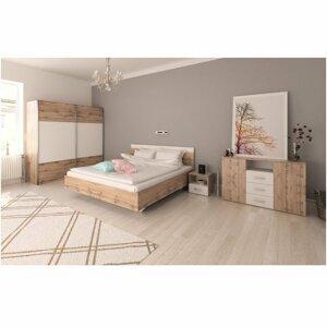 Ložnicový komplet (postel 160x200 cm) dub Wotan a bílá TK3132