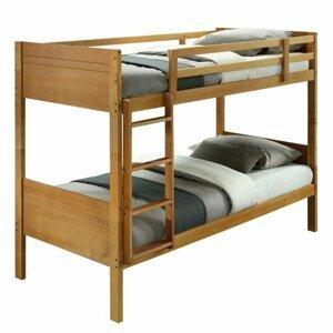 Dětská patrová postel, masivní dřevo, dub, MAKIRA