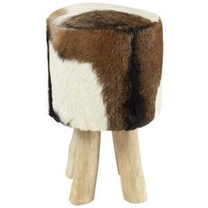 Ambia Home TABURET, teakové dřevo, hnědá, přírodní barvy, bílá - hnědá, přírodní barvy, bílá