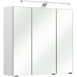 Xora SKŘÍŇKA SE ZRCADLEM, bílá, 75/70/20 cm