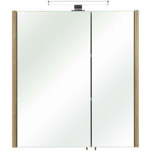 Xora SKŘÍŇKA SE ZRCADLEM, barvy dubu, 62/70/20 cm