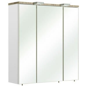 Xora SKŘÍŇKA SE ZRCADLEM, bílá, 65/70/20 cm
