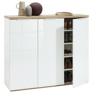 Carryhome BOTNÍK, bílá, barvy dubu, 120/102,3/35 cm - bílá, barvy dubu