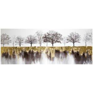 Monee OBRAZ, stromy, 180/70 cm - černá, bílá, barvy zlata
