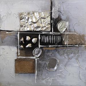 Monee OLEJOMALBA, abstraktní, 30/30 cm - hnědá, černá, barvy stříbra