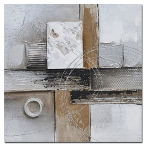 Monee OLEJOMALBA, abstraktní, 30/30 cm - šedá, černá, barvy stříbra, bílá, béžová