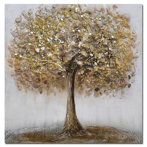 Monee OLEJOMALBA, stromy, 30/30 cm - bílá, barvy zlata, světle šedá