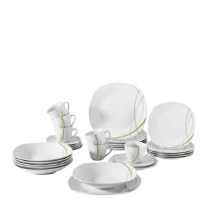 Boxxx SERVIS KÁVOVÝ, 18dílné, porcelán - šedá, zelená, bílá
