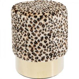 Stolička s leopardím motivem Cherry - sokl mosaz