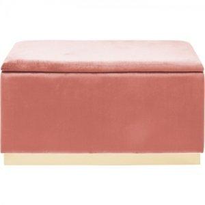 Růžová čalouněná lavice s úložným prostorem Cherry Storage Brass