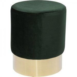 Tmavě zelená stolička Cherry - sokl mosaz