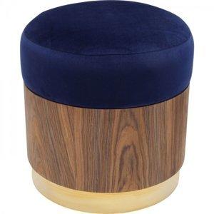 Modrá čalouněná stolička Lilly - sokl dřevo