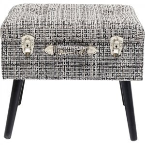 Černobílá stolička s úložným prostorem Suitcase