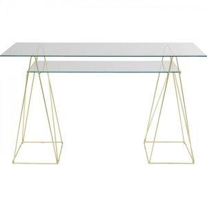 Skleněný psací stůl Polar - měděný, 135x65cm