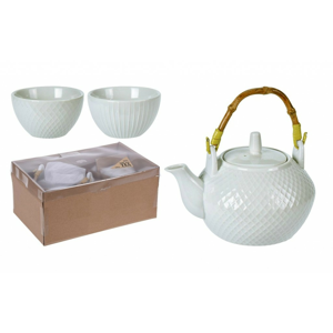Čajová souprava konvice + šálky porcelán sada 5 ks