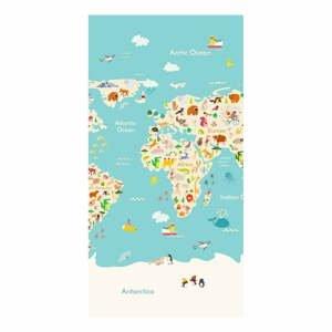 Plážová osuška s potiskem Good Morning Worldmap, 150 x 75 cm