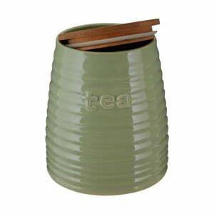 Zelená dóza na čaj s bambusovým víkem Premier Housewares Winnie, 950 ml
