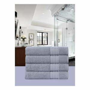 Sada 4 šedých bavlněných ručníků Uni, 50 x 100 cm