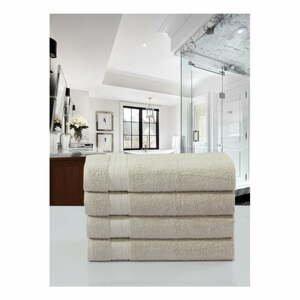 Sada 4 béžových bavlněných ručníků Uni, 50 x 100 cm