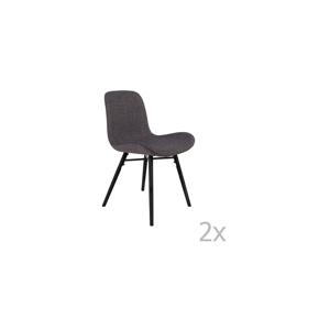 Sada 2 antracitově šedých židlí White Label Lester