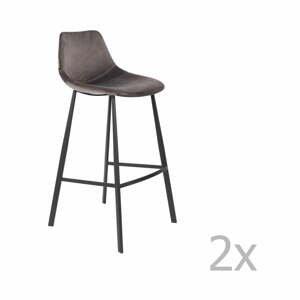 Sada 2 šedých barových židlí se sametovým potahem Dutchbone, výška 106 cm