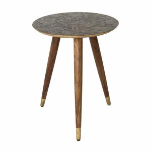 Mosazný odkládací stolek Dutchbone Bast, ⌀ 40 cm