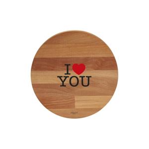 Prkénko z bukového dřeva Bisetti I Love You, ø 30 cm