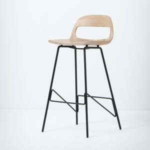 Barová židle se sedákem z masivního dubového dřeva a černými nohami Gazzda Leina, výška94cm