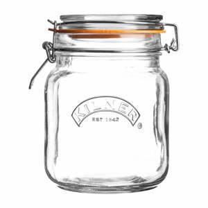 Hranatá zavařovací sklenice s klipem Kilner, 1 l
