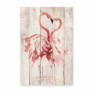 Nástěnná dekorace z borovicového dřeva Madre Selva Love Flamingo, 60 x 40 cm