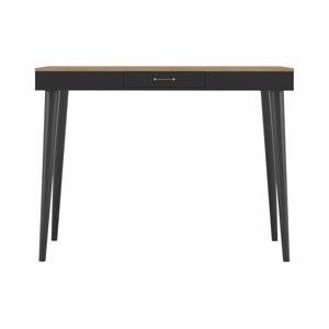 Černý barový stolek v dekoru dubového dřeva TemaHome Horizon