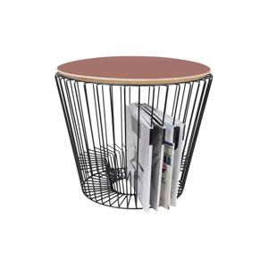 Odkládací stolek z lakovaného kovu s růžovou HARTÔ, ø 50 cm