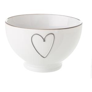 Bílá keramická miska Unimasa Heart, 580 ml